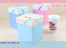 2017 Square gift box handmade custom tea cup packaging storage box /wine glass gift box made in dongguan