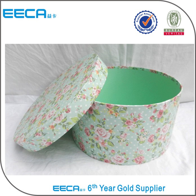 Latest style plain round cardboard hat box round flower box wholesale in China