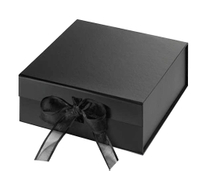 Matte black paper foldable gift box with ribbon