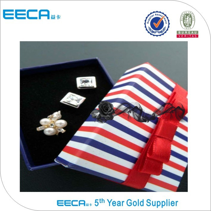2017 Rectangular gift box packing ring box/square box/popular jewelry box with sponge in EECA Packaging China