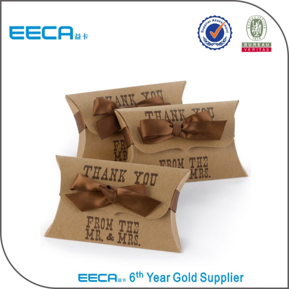 Brown custom logo paper kraft pillow box/pillow box with ribbon in EECA