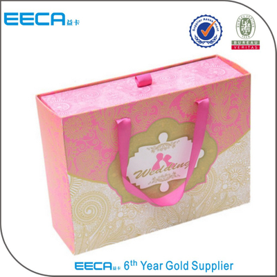 custom paper drawer box wedding favor candy cardboard box with handle/custom paper drawer box
