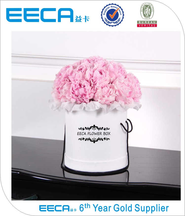 High quality waterproof white round paper packaging box for flowers/Cylindrical flower box in EECA Packaging