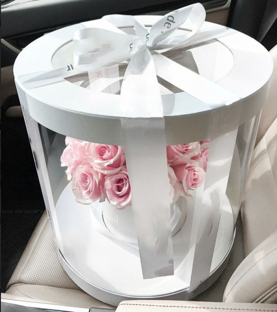 Wholesale Large Clear Plastic Preserved Bouquet Round Gift Paper Cardboard Packaging Luxury Flower Box