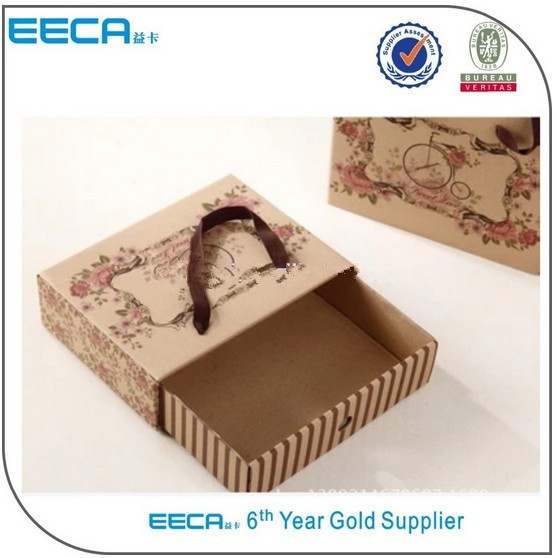 2017 kraft drawer boxes/varnishing kraft paper sliding drawer box/cardboard sliding gift box