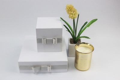 New design custom white paper storage box/square candle packaging box in EECA China
