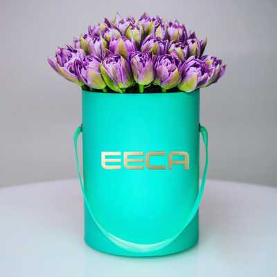 Green round paper box flower packaging box/hat box/Cylindrical flower box/gift box flowers in EECA
