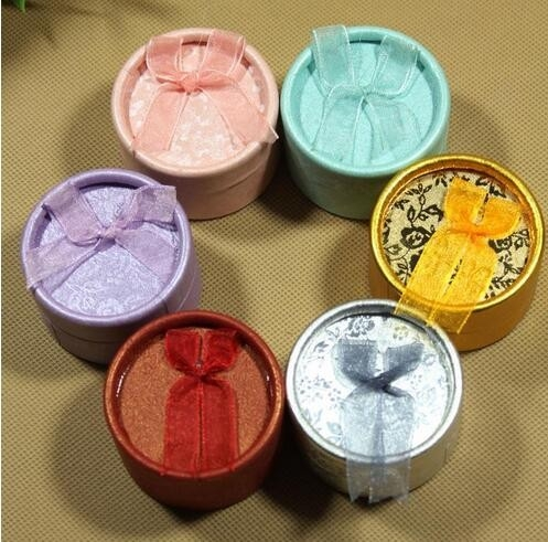 Ribbon round cylinder hat gift colorful paper box for jewelry and earring/round boxes in EECA