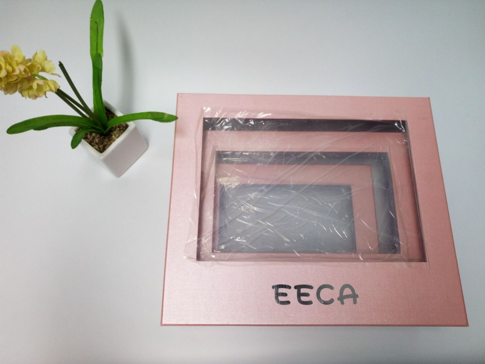 Transparent window box Pink color special paper handmade PVC packaging box with PVC window in EECA packaging China