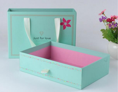Sliding drawer storage box gift packaging/fresh green drawer box packaging/Handmade drawer box ribbon in China professional manufacturer