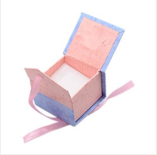 2017 square gift box bow cardboard jewelry ring earring boxes/custom magnetic gift box perfume box