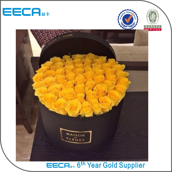New arrival black round flower hat box packaging/round flower box/Cylindrical flower box made in EECA China