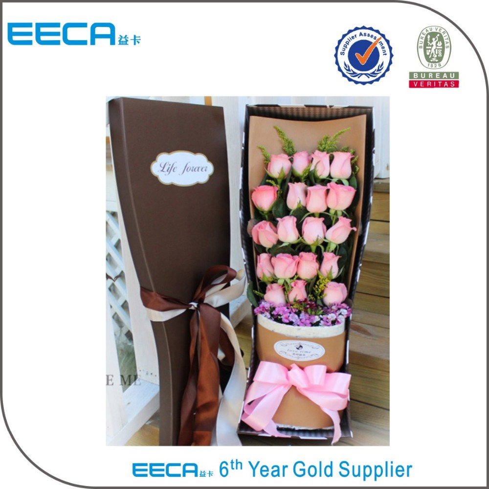 Rectangular Paper Flower Bouquet Packing Box cardboard boxes /cardboard flower gift custom box with logo