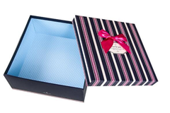 Square box stripes colorful paper garment paper box cardboard box for packaging cup/toy in Guangdong EECA