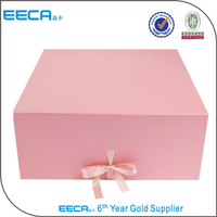 Waterproof foldable gift box with ribbon/Rectangular gift box/pink blue folding box