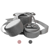 Custom Logo Gray Round Velvet Ring Box with Ribbon,Wedding Jewelry Ring Boxes