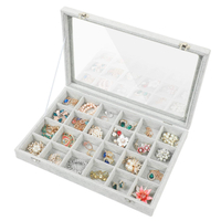 Custom Clear Lid Velvet 24 Grid Jewelry Tray Stackable Display Showcase Lockable Organizer Box For Earring,Ring,Necklace